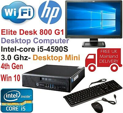 HP EliteDesk 800 G1 USFF Core i5-4590S @3.00GHz 8GB 480GB SSD Win10 PC Bundle