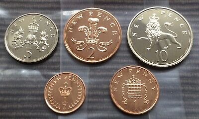 1971 PROOF part set of 5 small coins half penny 1p 2p 5p 10p Royal Mint pence