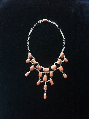 Sterling Silver And Genuine Tibetan Coral,Handcrafted  Necklace