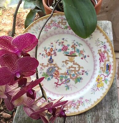 ANTIQUE MINTON CHINESE TREE DINNER PLATE HAND PAINTED c.1890