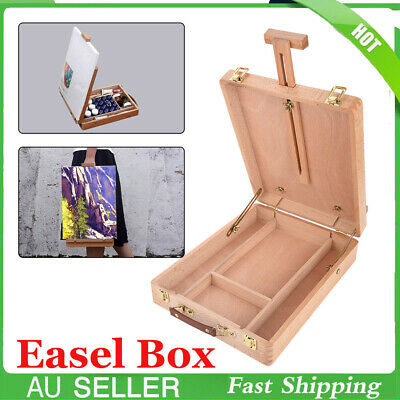 Adjustable Wooden Artist's Painting & Drawing Table Top Box Easel with Storage