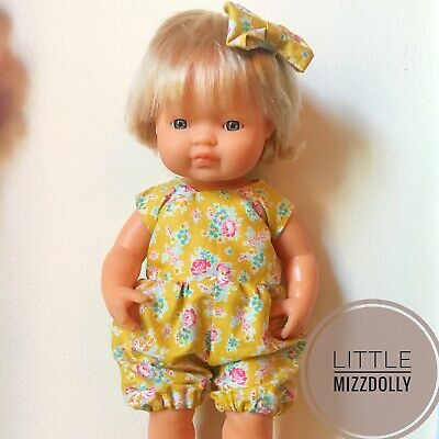 Miniland Doll Clothes Romper &bow Clip ~New Design~