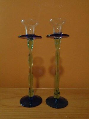 """Blue, Green and Clear Hand Blown Glass Candle Holders ~ Set of 2 ~ 9.5"""" H"""