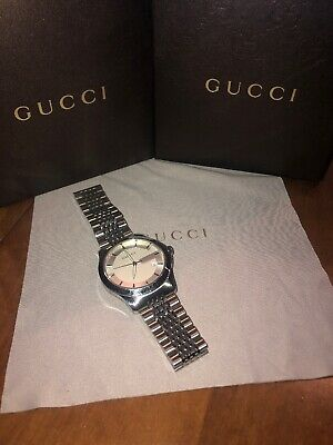 22366637242 Gucci G-TIMELESS Men s 126.4 Stainless Silver G Dial 38mm Watch YA126401