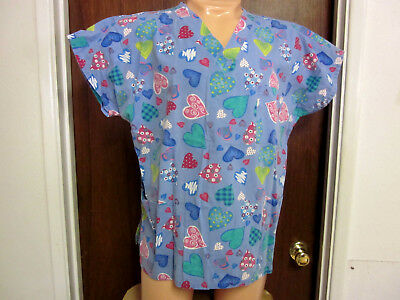 4c4b045e9c6 J.i.j Scrubs Womens Blue Heart Print Scrub Top Large 3 Pocket Excellent  Cond.