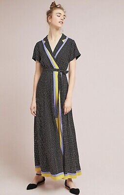 4a4411ad088f2 NWT Anthropologie Maeve black white Dot Stripe Faux Wrap Midi Maxi Dress 4