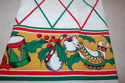 Vintage Christmas Holiday LINEN TABLECLOTH  Red Green Holly Candy Cane 68 x 26