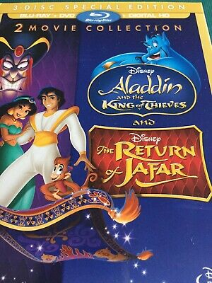 Aladdin King of Thieves Return Jafar 2/3 Blu-ray DVD & Digital Copy w Slipcover