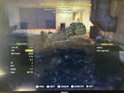 FALLOUT 76 PS4 Unyielding Leather Chest II Armor Item - £11 00