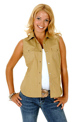 33282ee6 Roper Womens Brown 100% Cotton Sleeveless Solid Poplin Snap Western Shirt