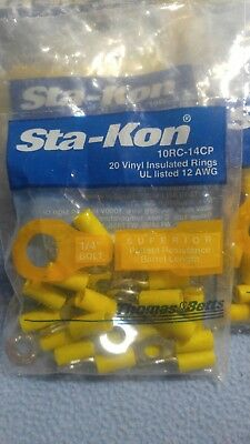"""20 Sta-Kon 10RC-14CP Ring Terminal Connector Insulated 1/4"""" bolt 12-10 awg T&B"""