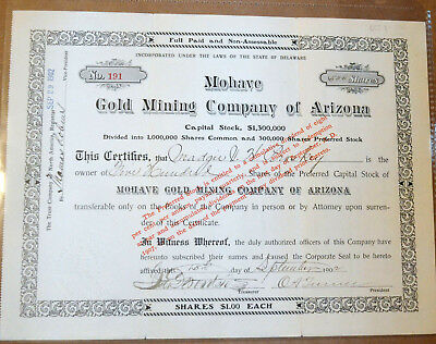 Mohave Gold Mining Company of Arizona 1902 antique stock certificate