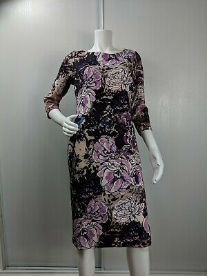 ECI dress size 8 purple black floral long sleeve sheath side zipper stretch New