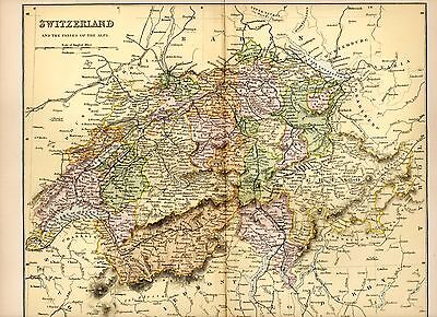 1880 Print ~ Map ~ Switzerland And The Passes Of The Alps