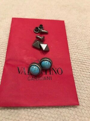 New Auth Valentino Rockstud Replacement 2 Turquoise+2 Silver Studs for Bag/Shoes