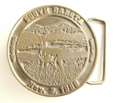 Vintage South Dakota State Lewis Belt Buckle 1974 Statehood 1889 Brass