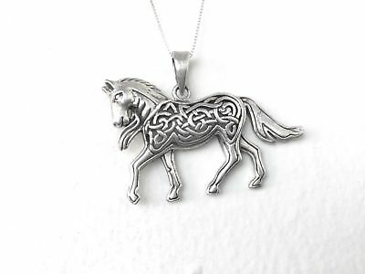 Large Handcast 925 Sterling Silver Celtic Horse Pendant FREE Silver Box Chain