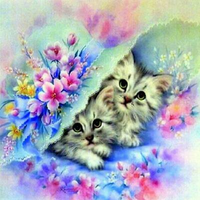 Cat DIY 5D Diamond Painting Kitten Cross Stitch Kits Home Decor Craft Art Y
