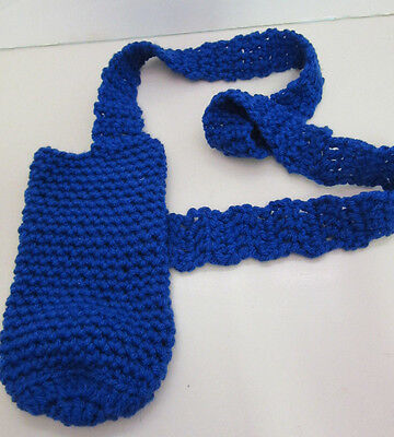 NEW Bottle Tote Bag Blue Soda Wine Water Beer Insulated Beverage Carrier Crochet