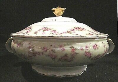 Victoria China Czechoslovakia VIT93 Covered Vegetable Bowl Rose Swags VHTF