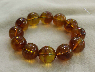 Collect Chinese Chicken oil yellow Beeswax Carved Buddha Bead bracelet bangle X
