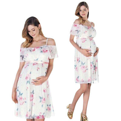 Womens Mother Floral Falbala Pregnant Cold Shoulder Dress For Maternity Clothes