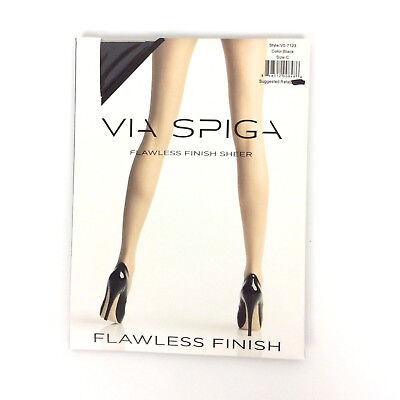 68ea6c8e7ac VIA SPIGA FLAWLESS Finish Pantyhose Size C Black Sheer Nylon Spandex ...