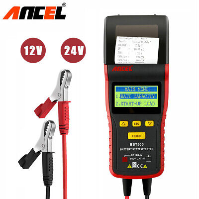 Ancel BST500 12V 24V Car Truck Battery Tester Analyzer Tool With Thermal Printer
