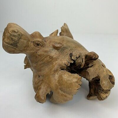 Unique Hand Carved Leaf Like Wood Piece Hippopotamus Head Collectible Art
