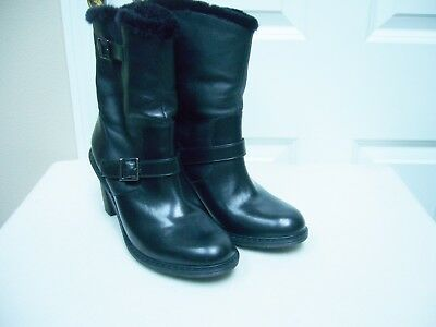 0796dfde5a9 New Dr. Martens Womens Hanna Engineer Boots Black Leather Faux Fur Size 11