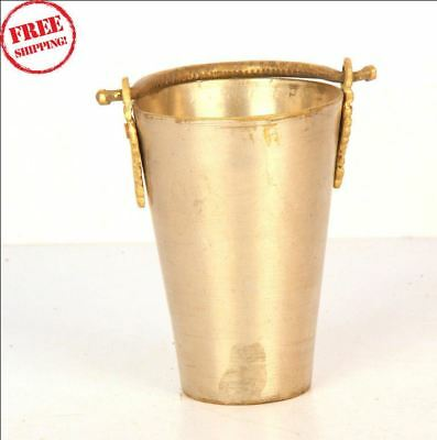 1850'S Antique Old Islamic Hand Floral Carving Brass Lassi Glass Cup 9806