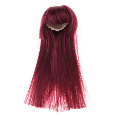 1/4 BJD Dolls Wig Hairpiece For Dollfie Hairstyle Making Supplies Wine Red