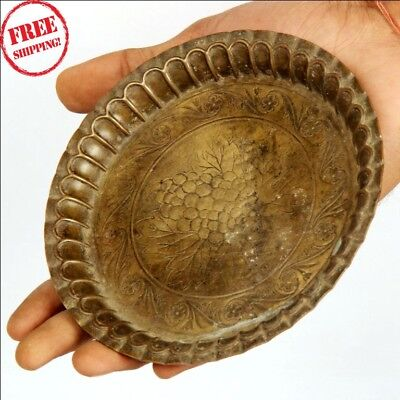 1920's Old Brass Handcrafted Inlay Engraved Unique Fruit / Dry Fruit Plate 9435