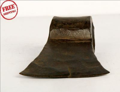 1850'S Indian Antique Hand Forged Solid Iron Axe Head Nice Shape 9250