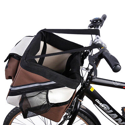 Portable Pet Carrier Bicycle Basket Bag Carrier Backpack For Dogs & Cats Brown