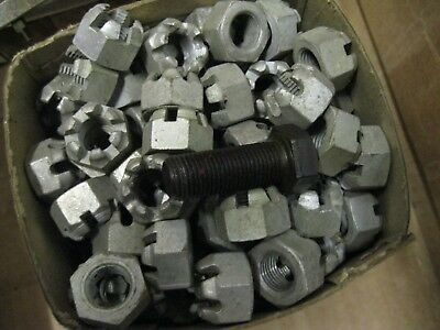1 - Pkt (6) 9/16 UNF Hex Steel Slotted Castle Nuts. Vintage Lock Nuts.