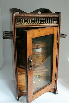 Edwardian Antique Oak Humidor Smokers Cabinet with misc accessories