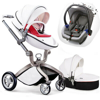 Baby Stroller 3 in 1 travel system Combo Pushchair folding pram leather hot mom
