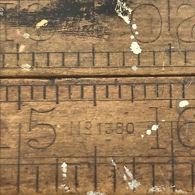 Rabone RULER FOLDING TIMBER & BRASS 36 INCH  NO.1380 MADE IN ENGLAND VINTAGE