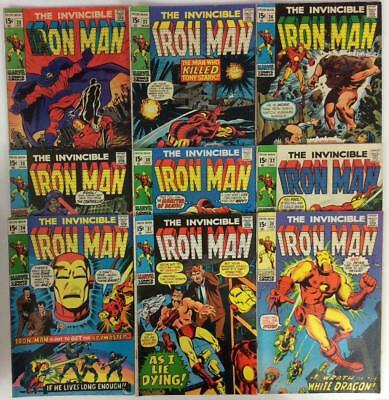 Invincible Iron Man Silver & Bronze Age joblot. 9 x issues (Marvel 1969)