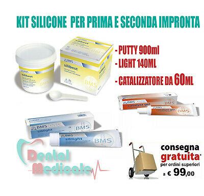 KIT SILICONE C PUTTY PER 1a e 2a IMPRONTA DENTALE 900ml+140ml+60ml,dentista