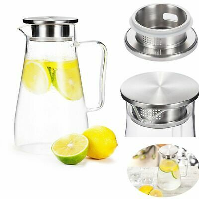 1.5L Clear Glass Pitcher Jug for Milk Lemonade Cold Water Juice Carafe with Lid