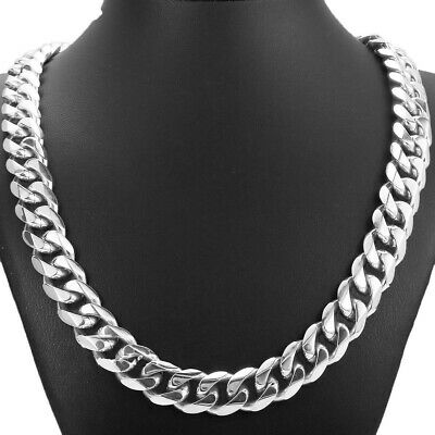 """24""""15mm Top 316L Stainless Steel Heavy Link Silver Curb Cuban Chain Men Necklace"""