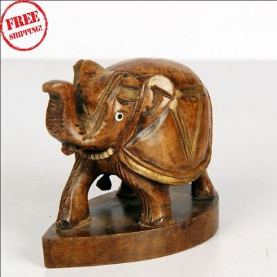 1900's Indian Antique Hand Carved Wooden Decorative Elephant Figurine Statue 950