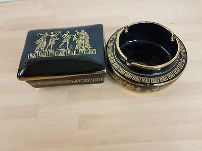 Black Greek 24K Gold Hand Made Ashtray and Candy Holder