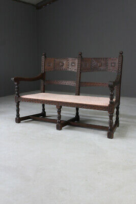 Antique Victorian Rustic Carved Oak Bench Hall Seat