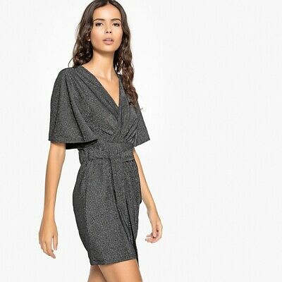 La Redoute Collections Womens Metallic Wrapover Party Dress