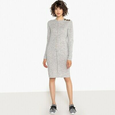 La Redoute Collections Womens Buttoned Wool Mix Jumper/Sweater Dress