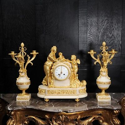 VENUS with AMOUR and DOG SUPERB ORMOLU and WHITE MARBLE CLOCK SET C1900 MARTI