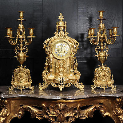 Large Gilt Bronze Clock Set ~ Goddess Nike C1880 ~ Fully Restored